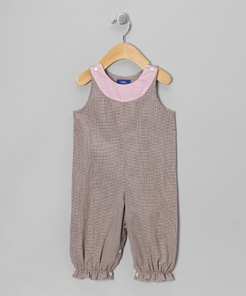 Brown Micro-Gingham Bubble Playsuit - Infant
