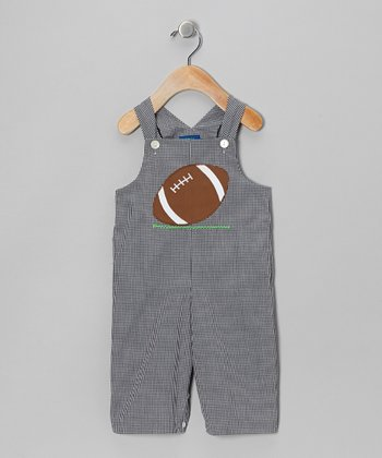 Blue Gingham Football Overalls - Toddler