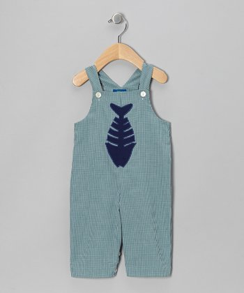 Blue Gingham Fish Overalls - Toddler