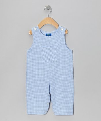 Light Blue Gingham Overalls - Toddler