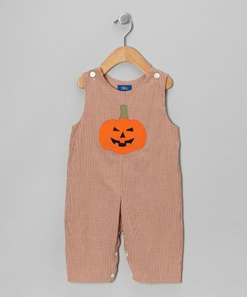 Brown Gingham Pumpkin Overalls - Toddler