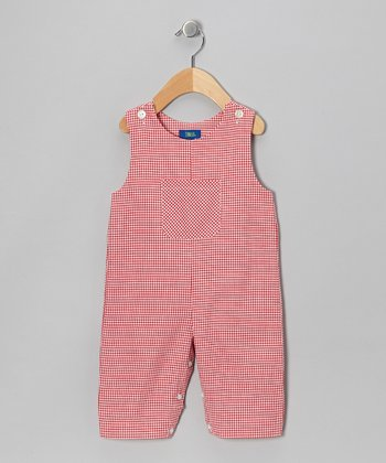 Red Gingham Overalls - Toddler