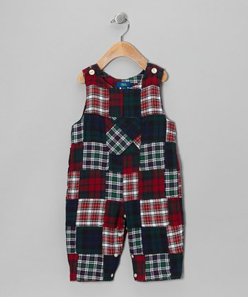 Green & Red Patchwork Overalls - Toddler