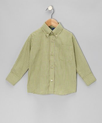 Green & Brown Plaid Button-Up - Infant, Toddler & Boys
