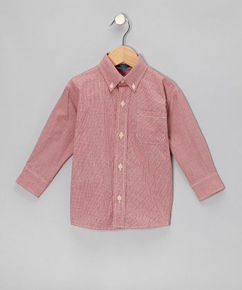 Red Micro-Gingham Button-Up - Toddler & Boys