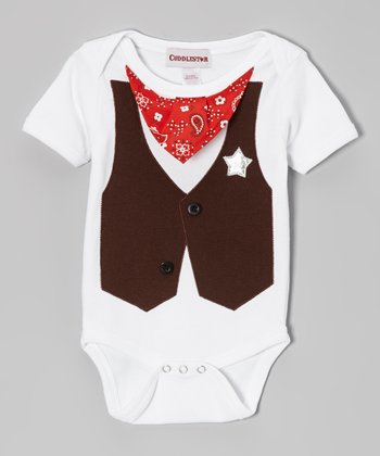 Red & Brown Deputy Bodysuit - Infant