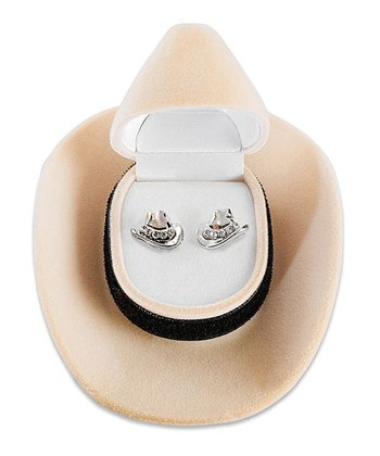 Crystal Cowboy Hat Stud Earrings & Gift Box