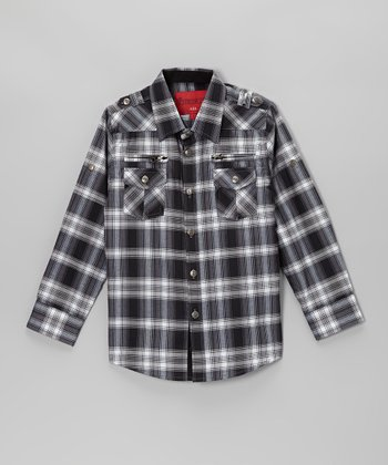 Blue & Black Plaid Western Snap Button-Up - Toddler & Kids