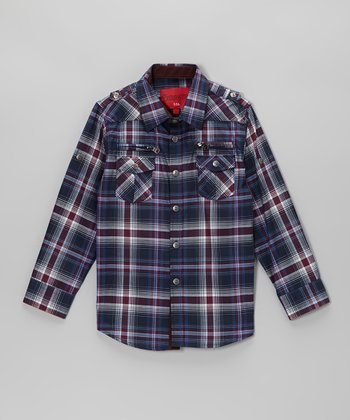 Blue Plaid Zip Pocket Button-Up - Toddler & Kids