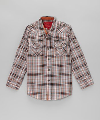 Gray & Orange Plaid Zip Pocket Button-Up - Toddler & Kids