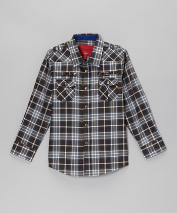 Black & Blue Plaid Zip Pocket Button-Up - Toddler & Kids