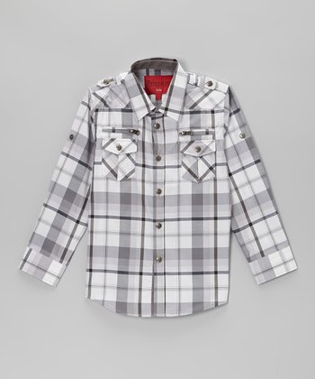 White & Gray Plaid Zip Pocket Button-Up - Toddler & Kids