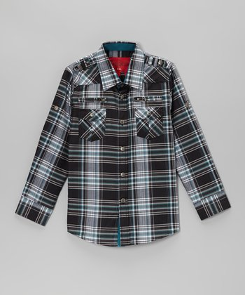 Black & Teal Plaid Zip Pocket Button-Up - Toddler & Kids