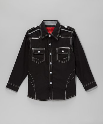 Black Contrast Stitch Western Button-Up  - Toddler & Boys