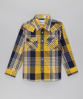 Yellow & Blue Plaid Embellished Button-Up - Toddler & Kids