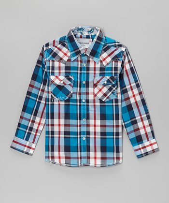 Blue & Red Plaid Embellished Button-Up - Toddler & Kids