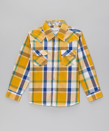 Yellow & Blue Plaid Embellished Button-Up - Boys