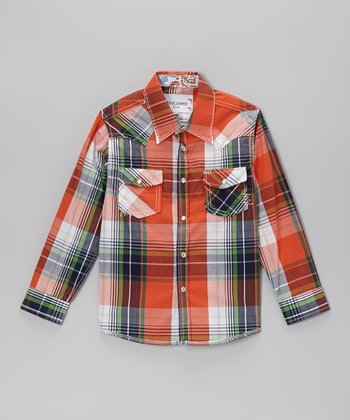 Orange & Green Plaid Embellished Button-Up - Toddler & Boys