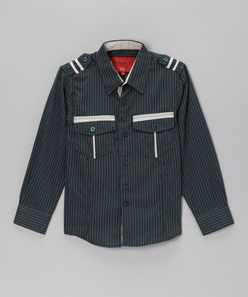 Hunter Green Stripe Button-Up - Toddler & Boys