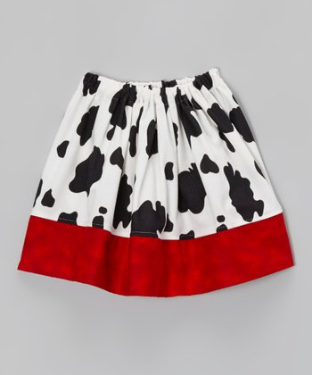 Red Cow Print Skirt - Infant, Toddler & Girls