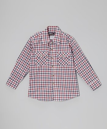 Spire Red & Navy Plaid Button-Up - Toddler & Boys