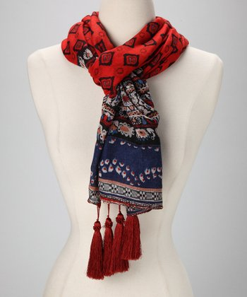 Red & Navy Batik Tassel Scarf