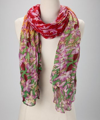 Red & Green Floral Scarf