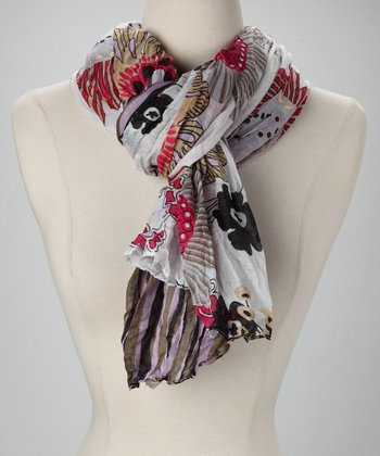 White & Red Floral Scarf