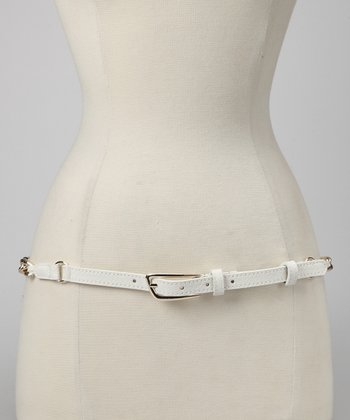 White Chain Overlay Belt