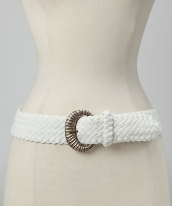 White Braided Stretch Belt