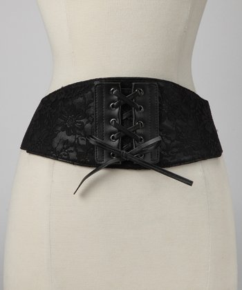Black Lace-Up Corset Belt
