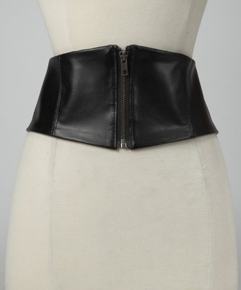 Black Zip-Up Corset Belt