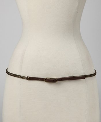 Antique Brass & Brown Metal Mesh Belt