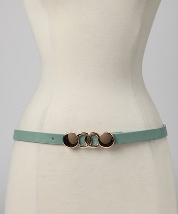 Seafoam Geometric Buckle Belt