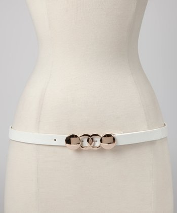 White Geometric Buckle Belt
