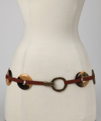 Antique Brass & Brown Ring Stretch Belt