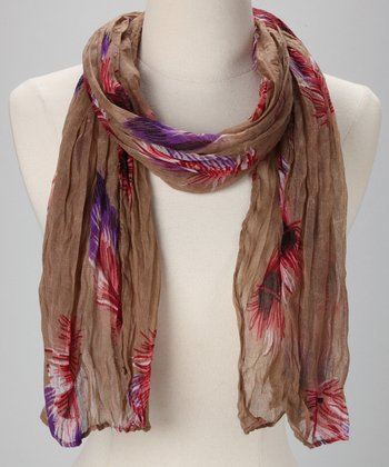 Beige Feather Crinkle Scarf
