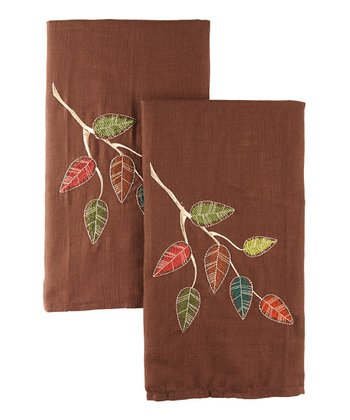 Leaves Autumn Woods Dish Towel - Set of Two