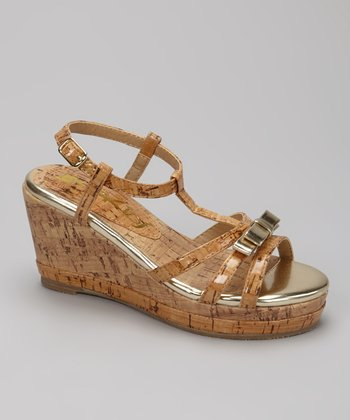 Natural K-Bow Wedge Sandal