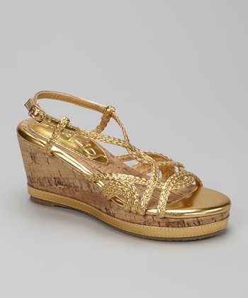 Gold K-Naïve Wedge Sandal