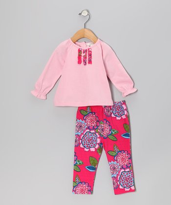 Light Pink Blossom Ruffle Tunic & Leggings - Infant