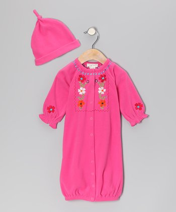 Dark Pink Bloom Convertible Gown & Beanie - Infant