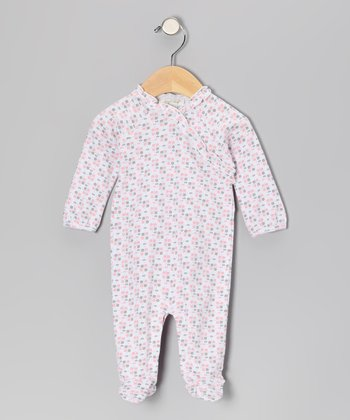 Pink & Gray Honeycomb Footie - Infant
