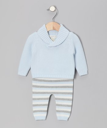 Light Blue Heather Sweater & Stripe Pants - Infant
