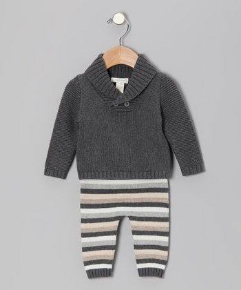 Charcoal Heather Shawl Collar Sweater & Stripe Pants
