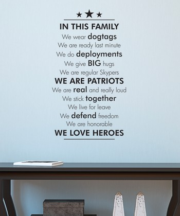 Black 'In This Family' Wall Decal