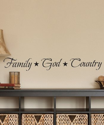 Black 'Family, God, Country' Wall Decal