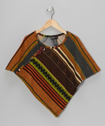 Green & Brown Geometric Stripe Poncho - Girls