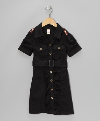 Jet Black Belted Button-Up Dress - Girls