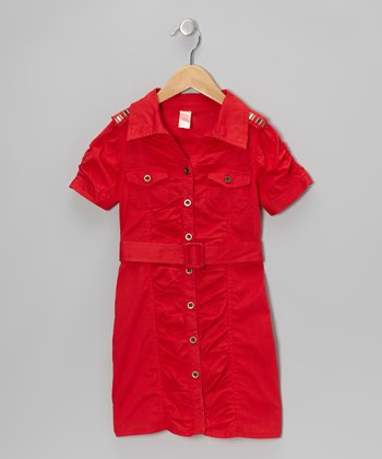 Ribbon Red Belted Button-Up Dress - Girls